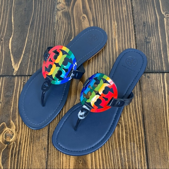Tory Burch Pride Rainbow Leather Miller Sandals
